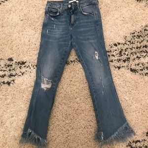 Zara jeans with frayed ankles